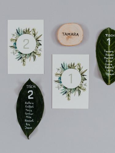 Tischnummer, Tischplan und Platzkarte