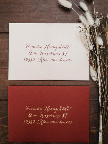 Kuvertansicht Save the Date und Einladungskarte