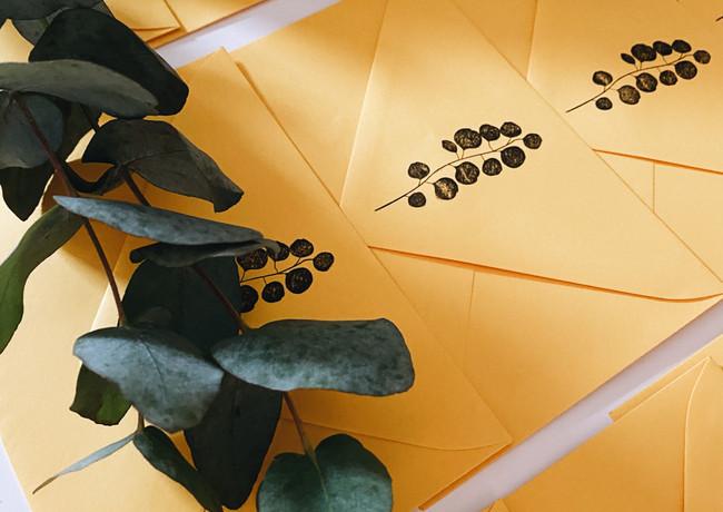 Rückseite Kuvert Helb mit Eukalyptus-Stempel