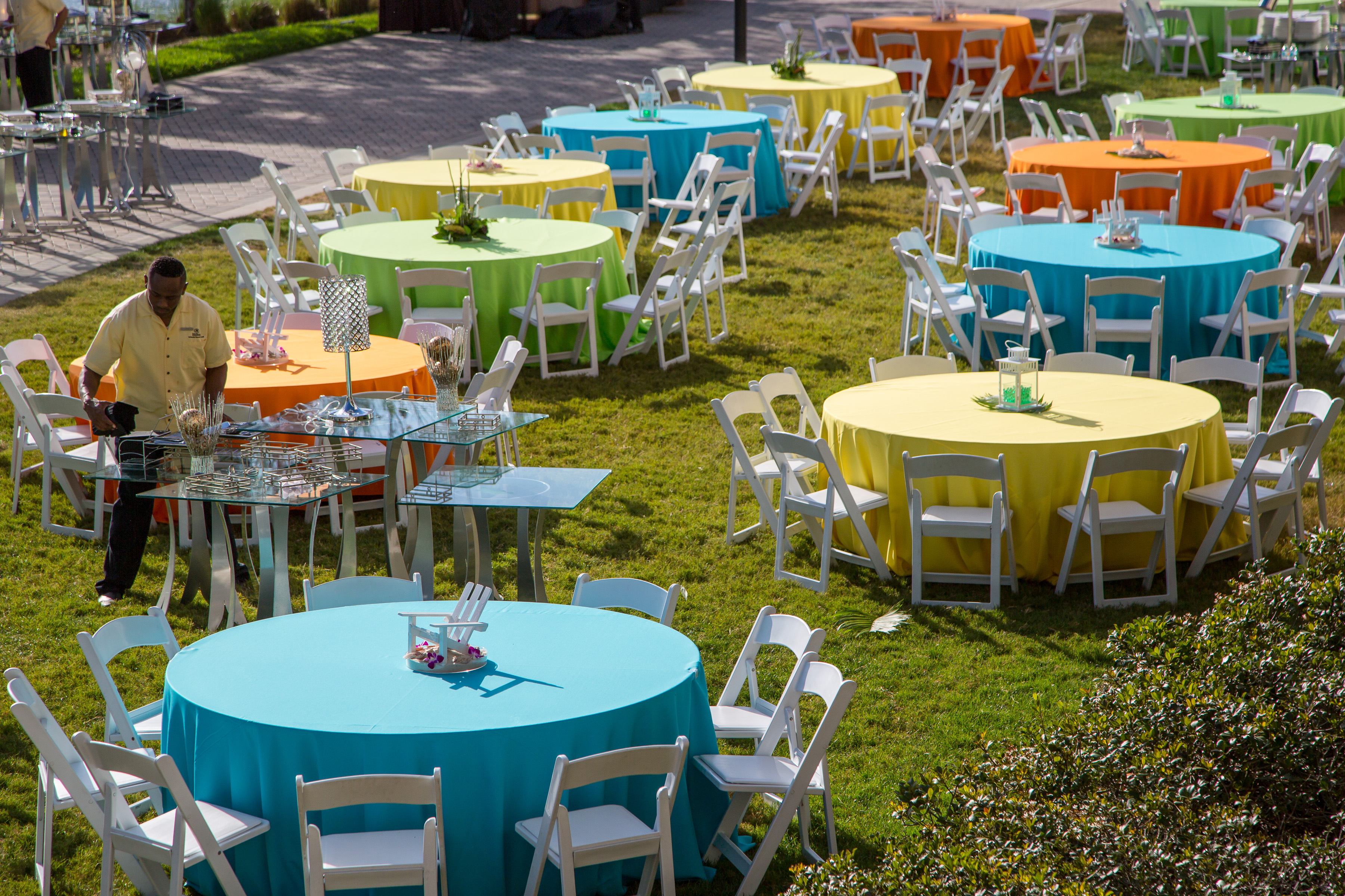 colorful outdoor table linens