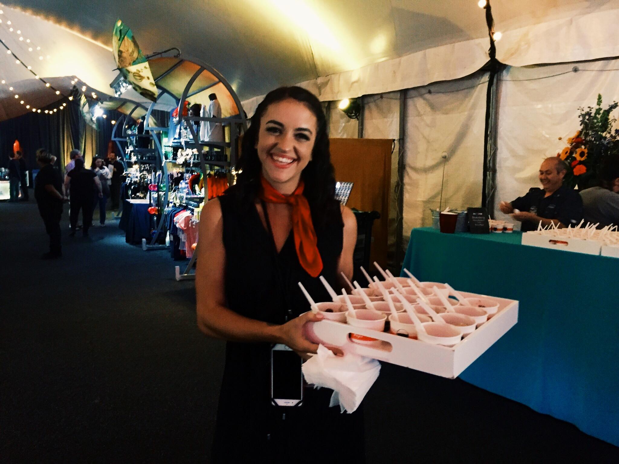 event planner serving food