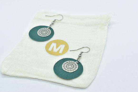 Boucles d'oreilles Cuir Vert et Mandala argenté