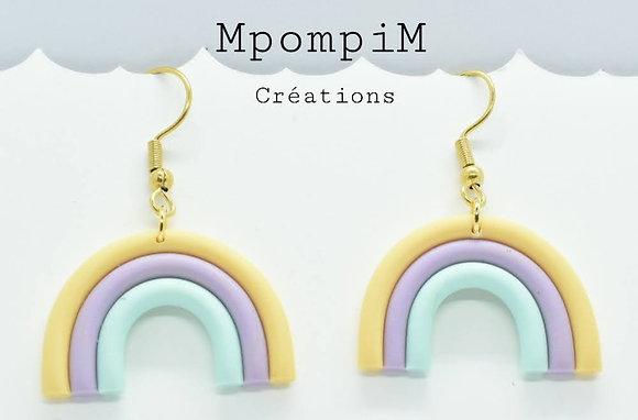 Boucles d'oreilles arc en ciel, 3 couleurs