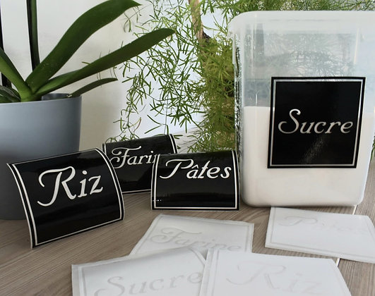 Stickers pour boîte alimentaire modèle cadre Noir ou Blanc