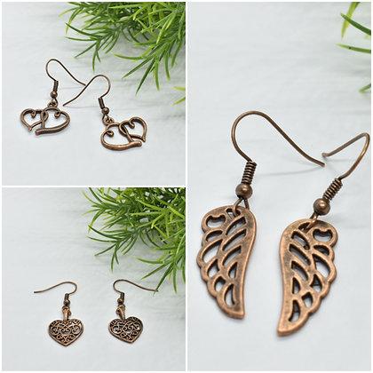 Boucles d'oreilles Bronze antique rosé