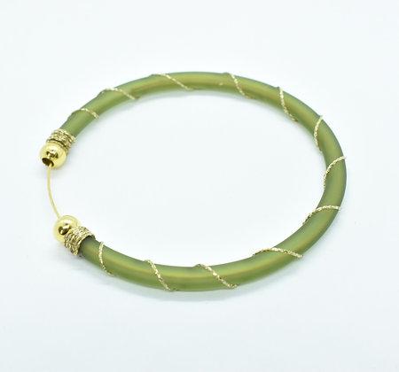 Bracelet à enfiler Vert et Doré