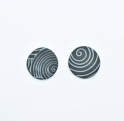 Puces d'oreilles Géantes Hypnotique Magnétique Noir et Argenté