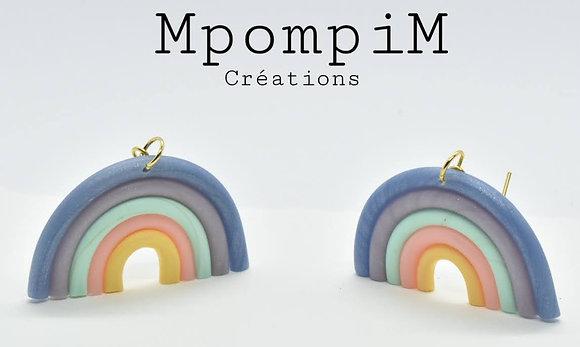 Boucles d'oreilles arc en ciel, 5 couleurs