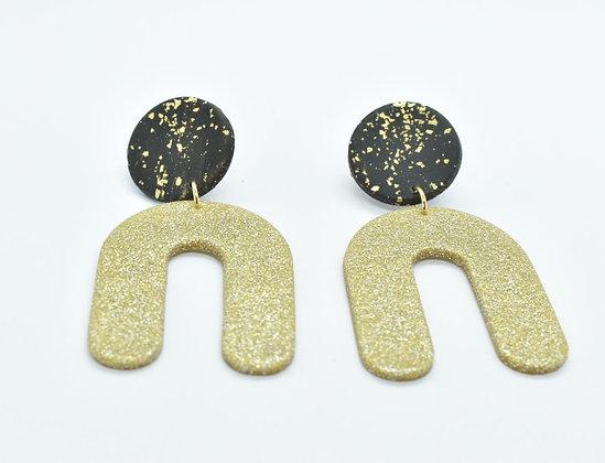 Boucles d'oreilles  Noir et Doré
