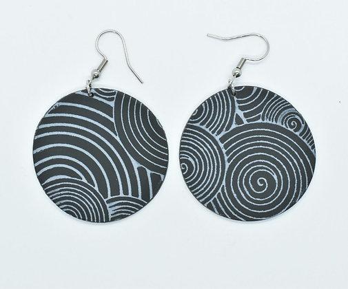 Boucles d'oreilles Hypnotique Noir et  Argenté
