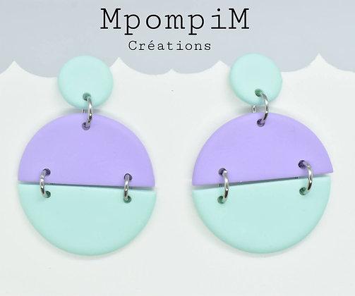 Boucles d'oreilles color pop vert mint et violet