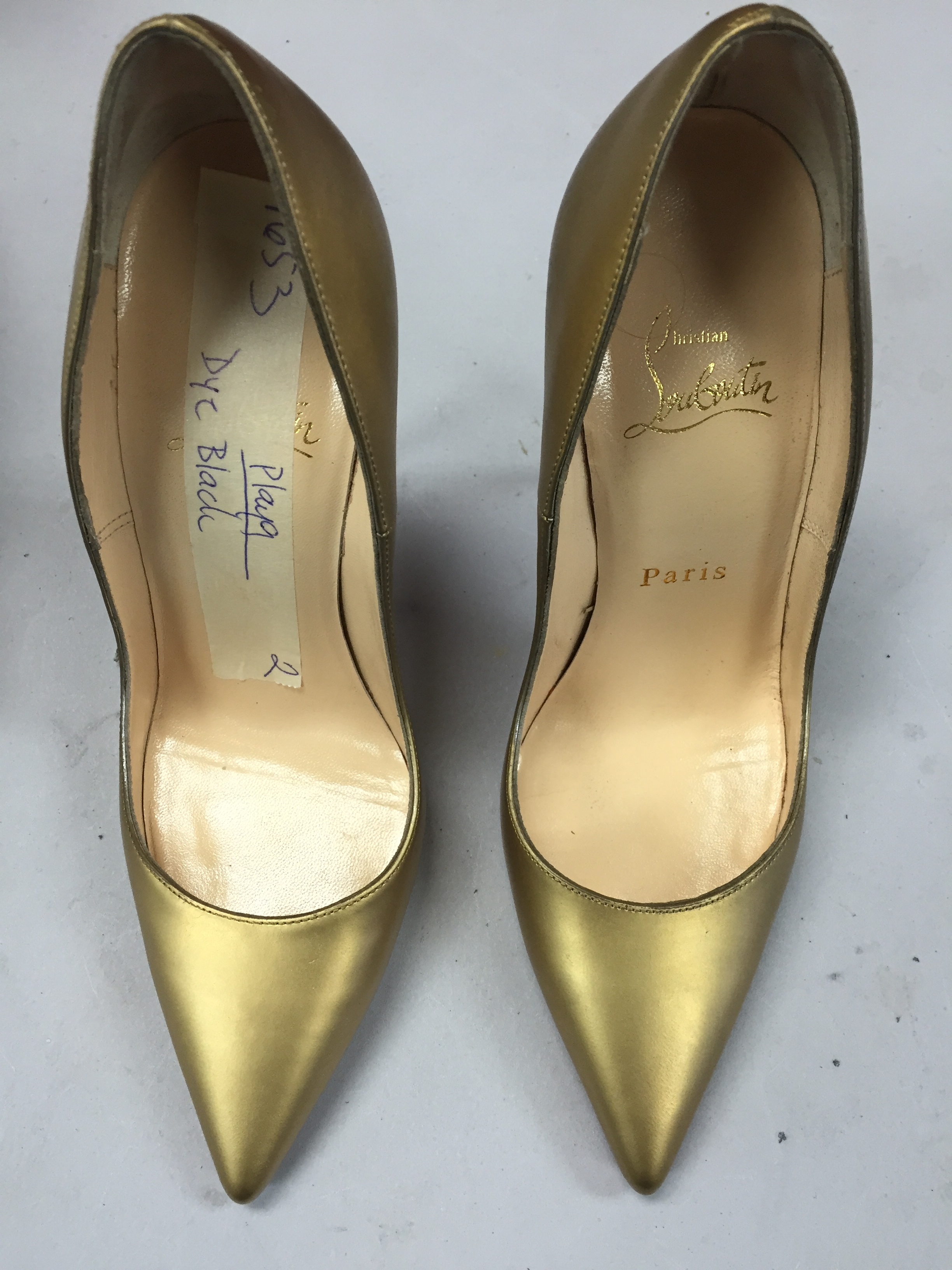 Gold Louboutins before