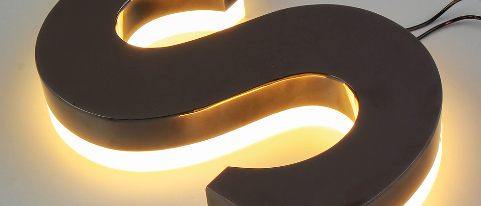 Stainless steel reverse-lit signs with acrylic backside for store mall warmlight