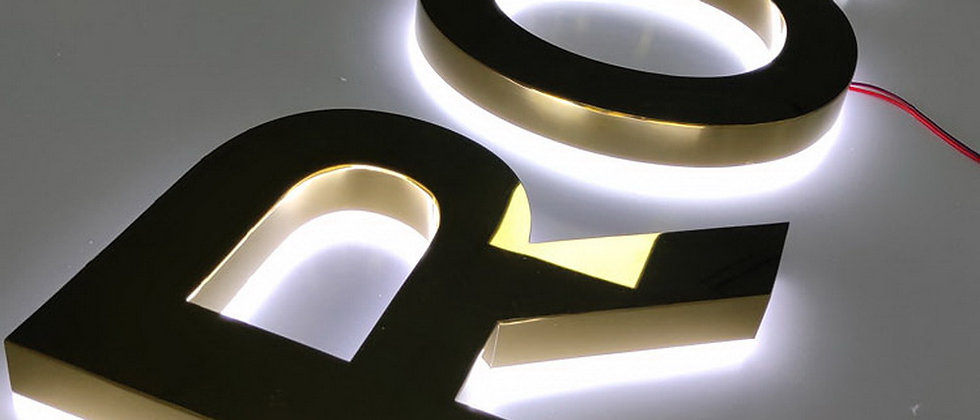 3D Mirror golden halo lit letters SUS with acrylic back for storefront signs