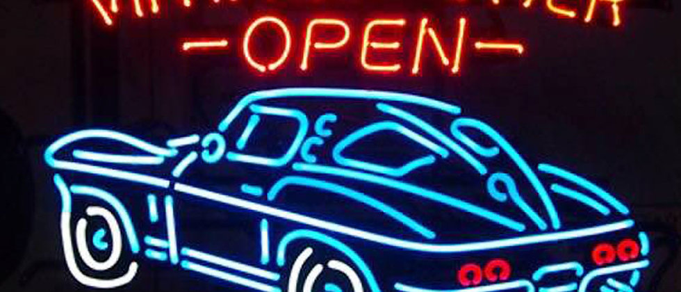 Customized Vintage power open neon signs car logo neon tube light for sale