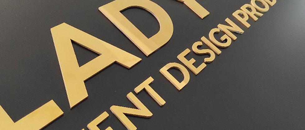 Polished stainless steel laser cut lettersm golden mirror flat metal letters