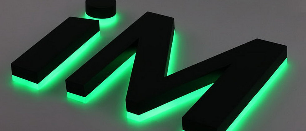 3d Corrosion-resistant Green halo lit metal letters acrylic backside with lights