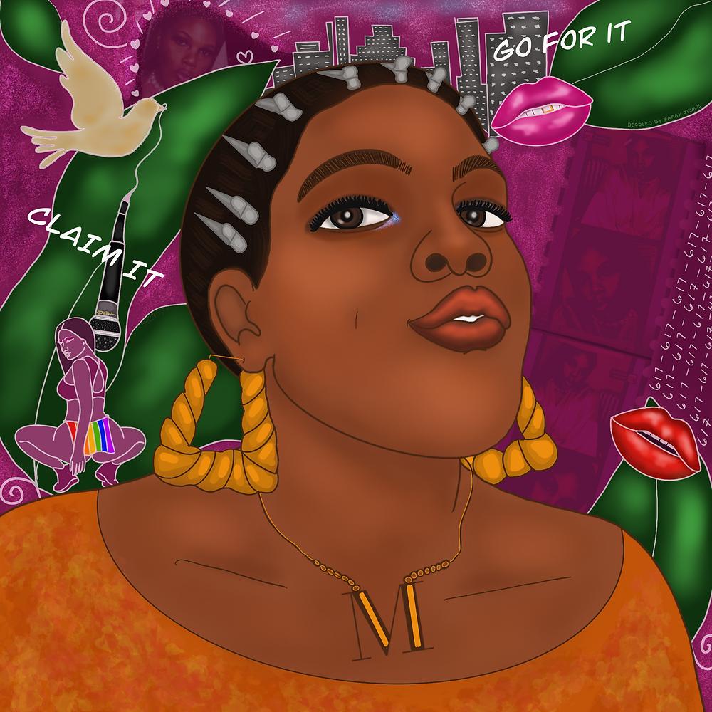 Hip Hop Artist, Merci D. Illustrated by Farah Jeune for @studiojeuneart