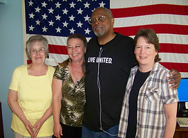 Veterans' Victory House in Lancaster, PA. A VVH participant with Maggie Kiralfy, Sheila Brownell, and Marge Mowrer.