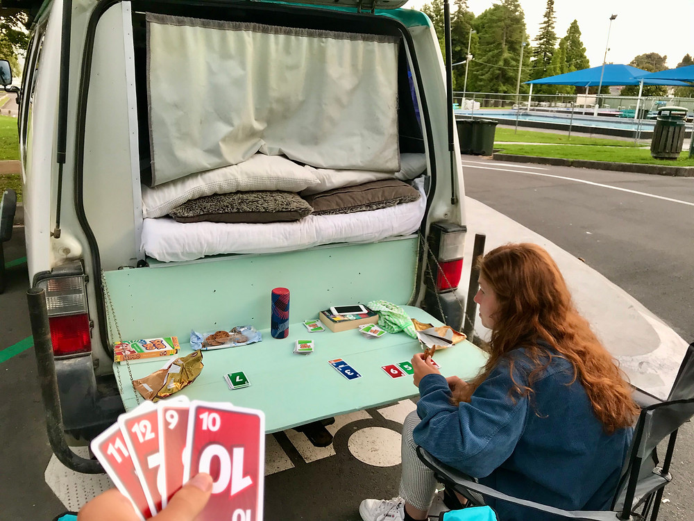 Playing cards in our van