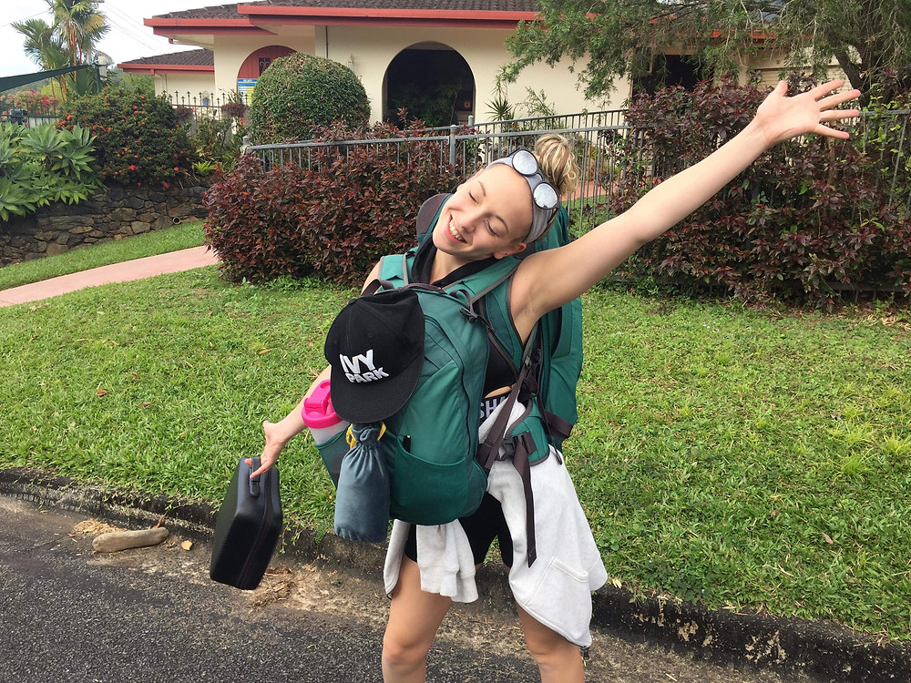 Sam, showing off her backpacking attire, whilst backpacking Australia