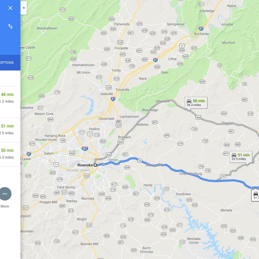 Google direction to Roanoke, VA