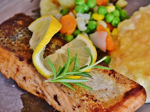 Pavé de saumon à l'aneth, jardinière de légumes