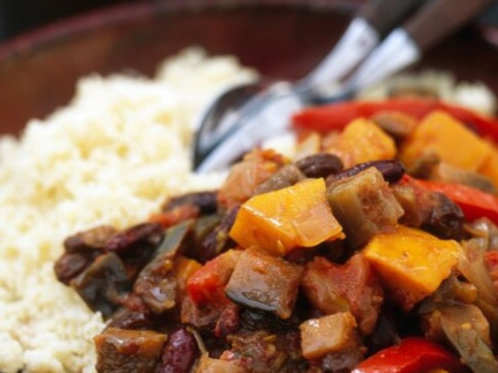 Végétarien: Tian de légumes au thym et riz pilaf