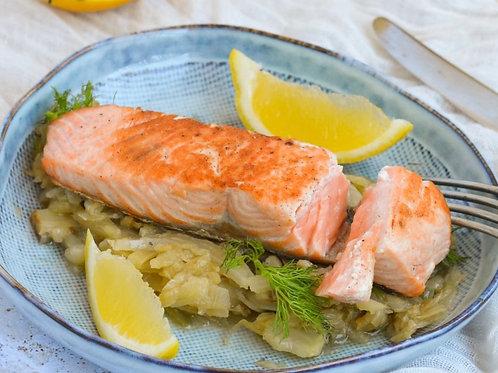 Pavé de saumon fenouil étuvé et poêlée de légumes