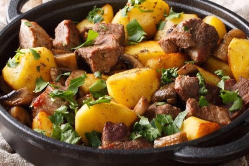 Sauté de porc à l'estragon, pommes de terre sautées