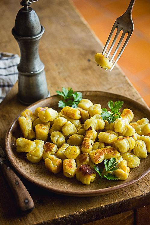 Plat végétarien : Poêlée de pomme de terre grenailles et courgettes confites