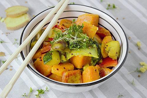 Verrine de légumes et crumble au curry