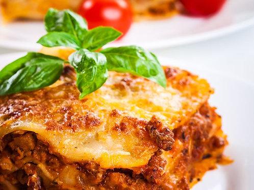 Lasagne à la Sicilienne ( bœuf, champignons, parmesan, petits pois)