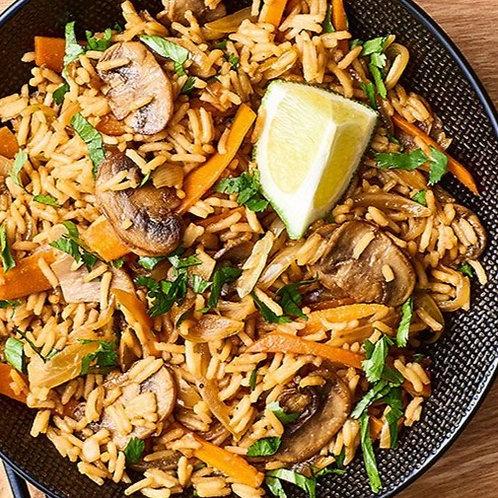 Plat végétarien : Riz et légumes wok