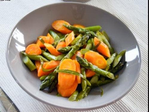 Plat végétarien : Poêlée de courgettes asperges et carottes