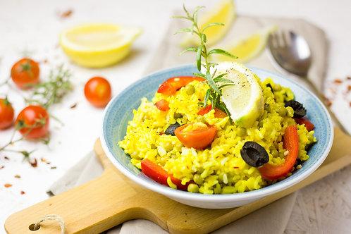Végétarien: Riz Thaï à la citronnelle et coco, et petits légumes