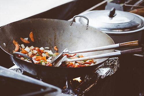 Sauté canard sauce soja, nouille chinoise et légumes wok
