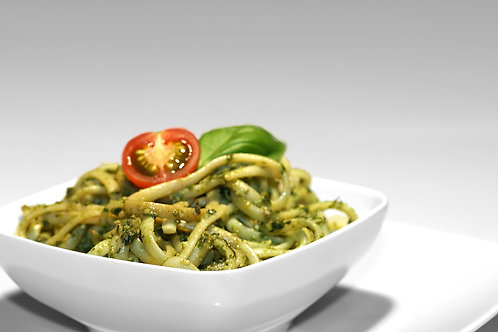 Spaghetti pesto vert, thon et olives