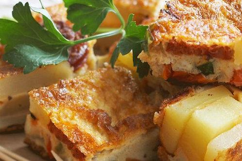 Plat végétarien : Tortilla aux oignons rouges et poivrons végé