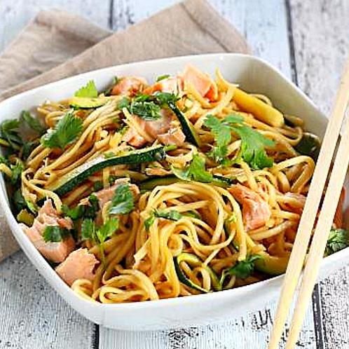 Poisson du jour, sauce asiatique et salade de légumes wok*