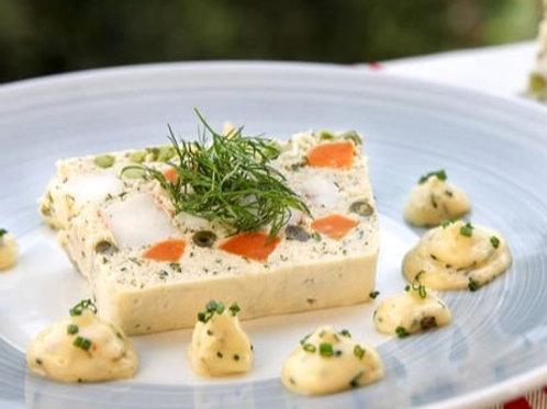 Terrine de poisson aux petits légumes, crème tartare