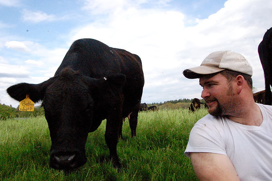 Farmer Jon, with curious Buttercup