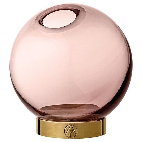 Jarrón Globo de cristal Rosa- Dorado con base AYTM