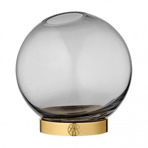 Jarrón Globo de cristal Ahumado-Metal AYTM