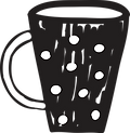 a mug line drawn in black with white spots
