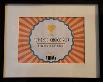 Audience Choice Award Fringe 2019 Plaque
