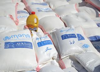 منظمة يمن للاغاثة الانسانية توزع 500 سلة غذائية في مديريات المنصورية الدريهمي وبيت الفقيه