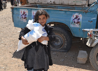 Funded by UK based charity Khalsa Aid, Mona relief distributes food aid in Sana'a for the second tim
