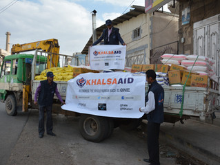 Mona Relief and Khalsa Aid distributing food aid for first time in Sana'a