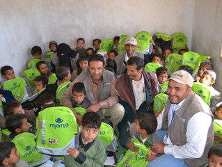 School bags were delivered to students in Jader area of Sana'a